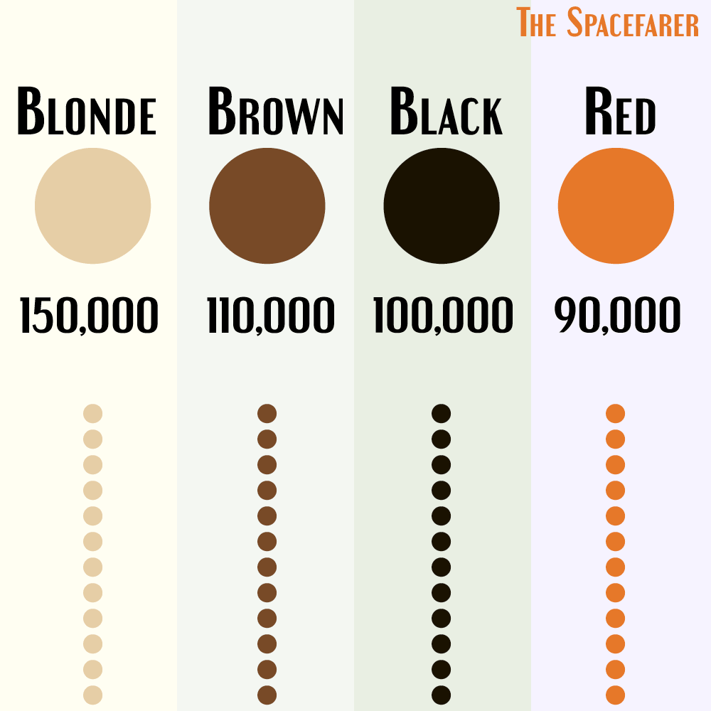 How many hairs on the human head on the basis of hair color
